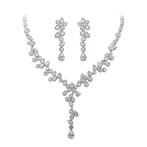 Clearine Juego de joyas para mujer para boda con circonitas en forma de pera, collar y pendientes