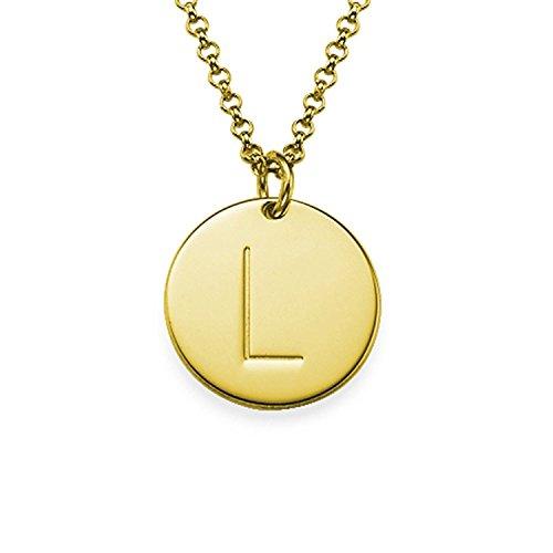 Lloveliness - Collana con iniziale, placcata in oro 18 K, personalizzabile con incisione dell'alfabeto