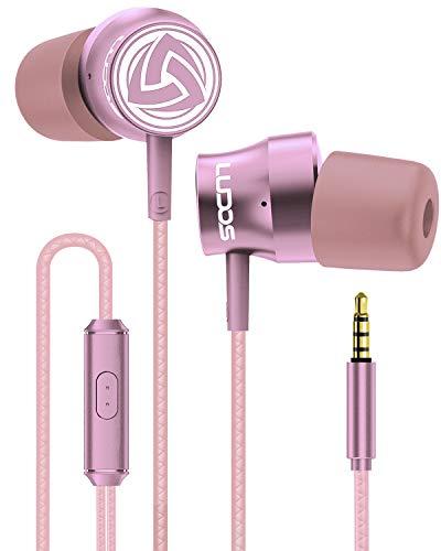 LUDOS TURBO Auricolari In-Ear Cuffie Ergonomiche alla Moda, Cuffiette con Microfono, Nuovo Memory Foam, Cavo Resistente, Bassi, per Samsung, iPhone, Huawei