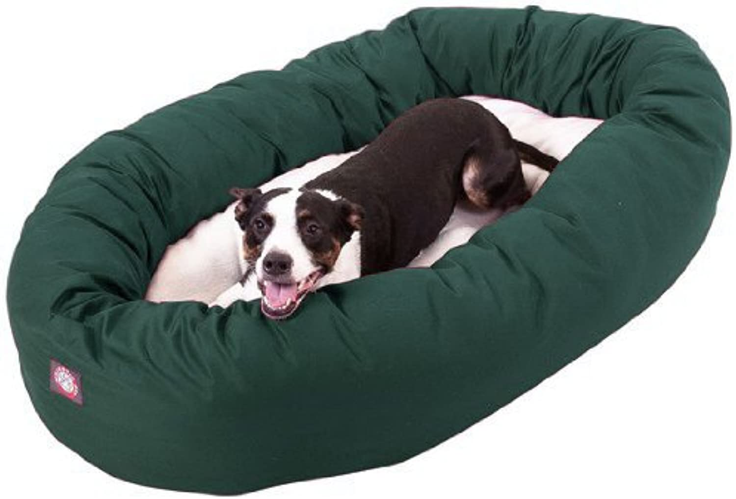Majestic Pet 40Inch Bagel Bed for Pets, Green and Sherpa