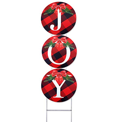 changsha 3 Pack Joy Yard Signs Set, Christmas Joy Yard Sign with Stakes, Buffalo Check Plaid Wreath for Lawn Yard Decorations Signs Xmas Winter Holiday Outdoor Decorations