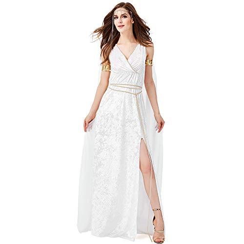 Mujer Señoras Diosa Romana Griego Antiguo Carnaval Disfraz Traje de Cosplay Vestido Largo de Halloween,Blanco