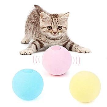 Haoshics Smart Cat Toys Balle interactive pour chat avec herbe à chat Jouet d'entraînement pour animal domestique Balle couinante Accessoires pour chats chatons chatons (oiseau rose, matériau EVA)