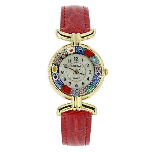 Murano Millefiori Uhr Mit Lederband - Rot