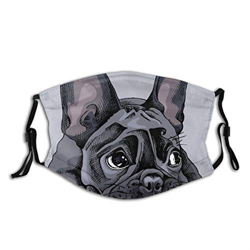 YCHY Face Cover Face Dog French Bulldog Nature Hand Lying Adorable Black Bored Funny Balaclava Unisex Reusable Windproof Anti-Dust Mouth Bandanas Neck Gaiter with 2 Filters
