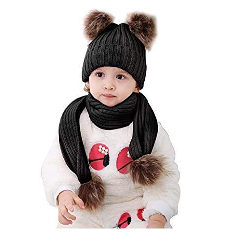 2 STKS Baby Fur Pom Pom Ball Gebreide Warm Beanie Cap Ski Hoed en Sjaal Set (Zwart)