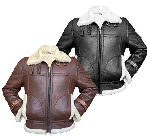 e Genius Hombre Aviator RAF B3 piel de oveja de piel sintética Shearling negro y marrón bombardero volador chaqueta de cuero-bombardero chaqueta de cuero - chaqueta de hombre