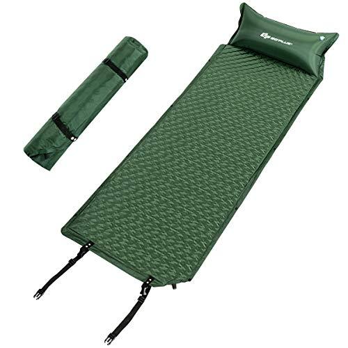 COSTWAY Camping Schlafmatte, Schlafunterlage selbstaufblasbar, Campingmatte aus Schaumstoff, Luftmatratze mit Kissen und Tragetasche, Isomatten Ideal für Camping, Wandern und Reisen, grün 190x69x3cm