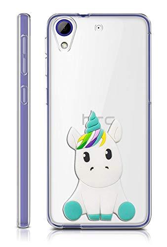 Sunrive Funda para HTC Desire 650/628 / 626 / 626G, Silicona Slim Fit Gel Transparente Carcasa 3D Case Bumper de Impactos y Anti-Arañazos Espalda Cover(W1 Unicornio 1)