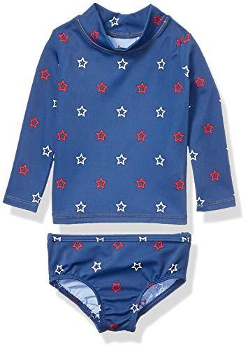 Amazon Essentials - Conjunto de 2 piezas con camiseta de protección solar de manga larga para bebé, Azul Start, US 9M (EU 63-74)