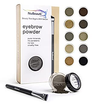 Mineral Eyebrow Powder by NuBeauti - Natural Brow Makeup Kit with Angled Contour Brush for Precision Sculpting to Color Eyebrows Precisely for Beautiful Perfect Brows  With Brush Dark Brown