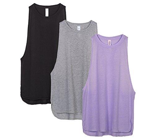 icyzone Sueltas y Ocio Camiseta sin Mangas Camiseta de Fitness Deportiva de Tirantes para Mujer(Paquete de 3) (M, Negro/Gris/Lavanda)