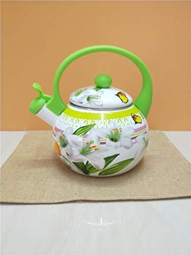 Tetera De Esmalte Caldera De Porcelana De Esmalte Verde 2.2L, Caldera De Silbato De Esmalte, Caldera