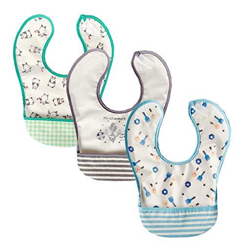 babero bebe,cojín antivuelco bebe,regalos,alimentación,bibs,bandanas bebe,3 unids/set Baberos para bebés Diseño de bolsillo Algodón suave Unisex Impermeable Bebé Bandana Baberos Baberos