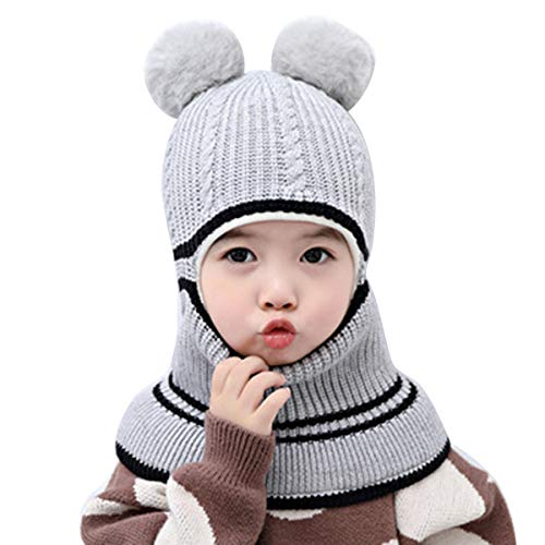 Queen.Y Cappello Invernale per Bambini Inverno Antivento in Maglia Foderato in Pile Cappuccio con Paraorecchie Berretto con Teschio Scaldacollo Caldo Cappello all'Uncinetto per 2-5 Anni