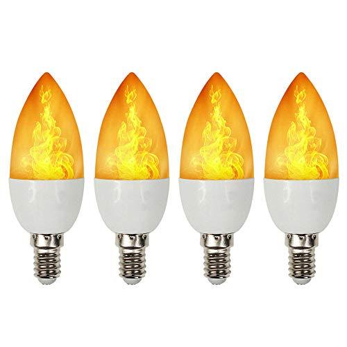 Mintice 4 X Flammen Lampe Glühbirne Flammenlicht E14 Base 3W LED Flammeffekt flackernde Feuerglühbirnen 4 Beleuchtungsmodi Kerze Schwere Atmung dekorativ retro Garten Hochzeit Weihnachten