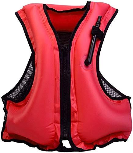 GVCT Giubbotto di salvataggio - Giubbotto di salvataggio ausiliario Bocca gonfiabile portatile Adulti Bambini Costumi da bagno Sport acquatici