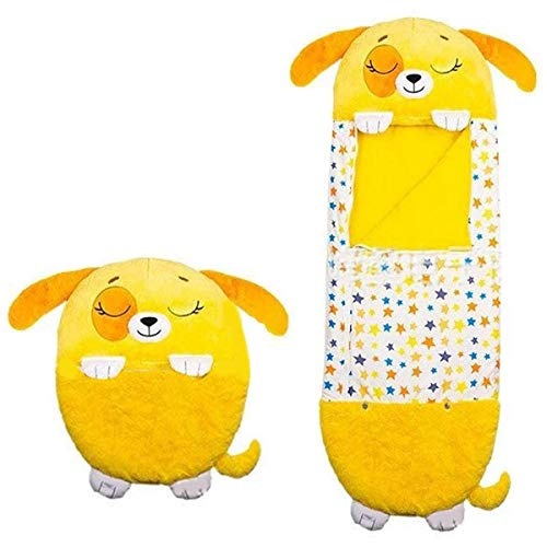 Happy nappers Play Pillow, Foldable Soft Fun Sleeping Bag, Cute Animal Sleeping Bag for Kids. (Yellow Dog)