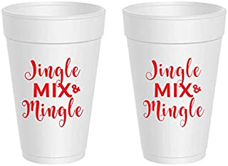 Christmas Styrofoam Cups - Jingle, Mix and Mingle (10 cups)