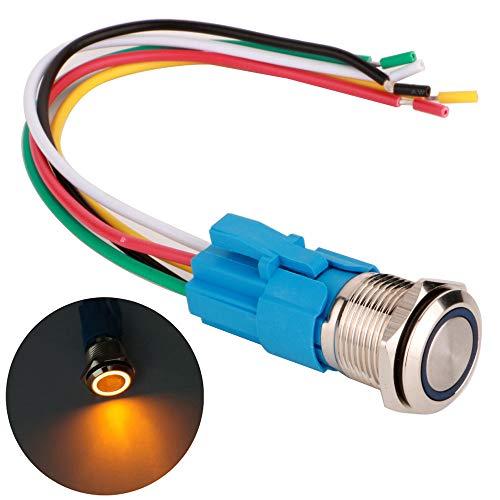 Gebildet 16mm Momentáneo Pulsador de Botón Acero Inoxidable, Impermeable ON/Off 12V-24V 5A LED 1NO1NC SPDT Temporal Botón con Enchufe de Cable(LED Naranja)