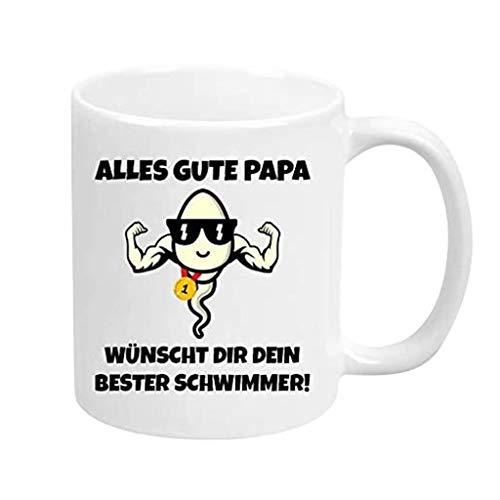 CUEYU Geschenkidee für Väter Vatertag Spermium Tasse Champion Champ - Alles Gute Papa Wünscht dir Dein Bester Schwimmer Lustige Tasse (Weiß)