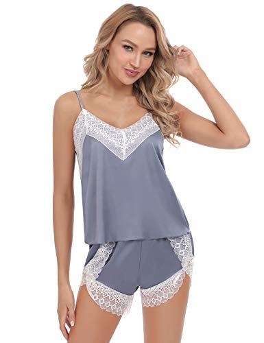 Aiboria Conjunto de Pijama Mujer lencería Mujer Verano Corto Sin Mangas Pijama de Encaje Ropa de Dormir Babydoll Ropa Interior camisón S-XL