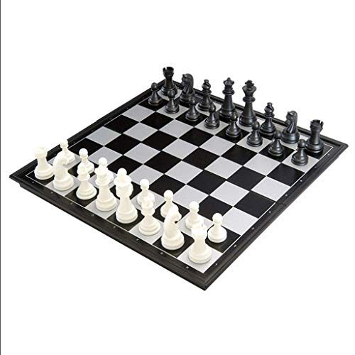 JHSHENGSHI Classic Black and White Chess Chess Magnetic Stereo Chess Piece Portable Folding Chess Board Set Competition Game for Children ADU (Intellectual Entertainment)