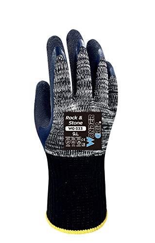 Wonder Grip WG-333 Rock & Stone - Arbeitshandschuh mit doppelter Latexbeschichtung; Schnittsicher, Kälte und Hitzeschutzhandschuhe für sicheres Greifen; XL / 10