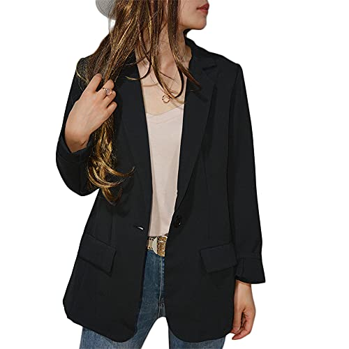 Womens Casual Blazers Open Front Long Sleeve Work Office Jackets Blazer,Casual Work Solid Color Blazer (Black, L)…