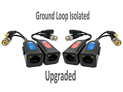 FocusHD 2 Pair Passive Video Balun 1080P-5MP BNC to RJ45 Adapter with Power, Upgraded with Ground Loop Isolated Security Camera Network Transceiver Cat5e Cable to BNC Connectors -4Pack