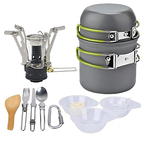 Utensilios de cocina de camping-Cooking Set Kit de lío para 2 personas, 2 Ligera pan pot 2 Copas y Mini Estufa, cuchillo tenedor cuchara kits para mochilero, aire libre Trekking senderismo y picnic