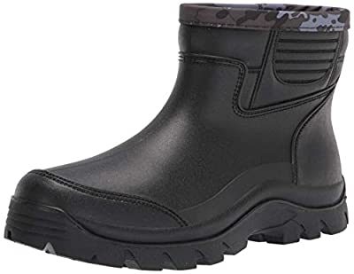 Gets Rain Boots for Mens Waterproof Light Rubber Ankle Boots for All Type of Weather (EU 44=US 11) Black