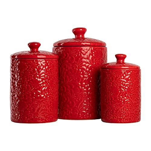 10 Strawberry Street Kitchen Canister Set, 3 Piece, Fleur Red