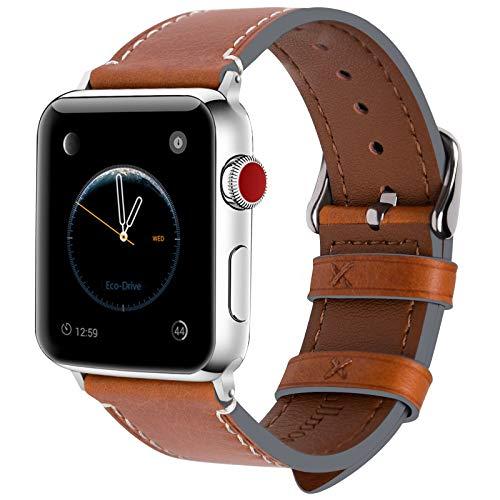 Fullmosa Kompatibel Apple Watch Armband 42mm(Series 4 44mm),Leder Wax Series iWatch Band/Ersatzband für Apple Watch 5/4/3/2/1,Hellbraun + Silber Schnalle