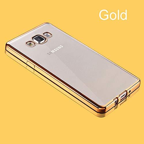 OPXZPM Carcasa de telefono Funda Blanda Transparente para Samsung Galaxy 2016 2017 A6 A8 Plus A9 2018 A50 A60 A70 A80 Cubierta del teléfono móvil, Dorado, A8 2018