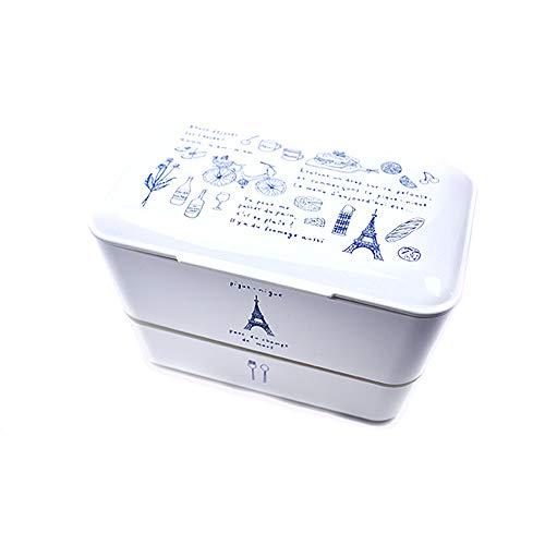 TAKENAKA - Fiambrera fabricada en Japan original Bento Box I con 2 compartimentos I sin BPA, apta para microondas y lavavajillas I ilustración Paris versión White