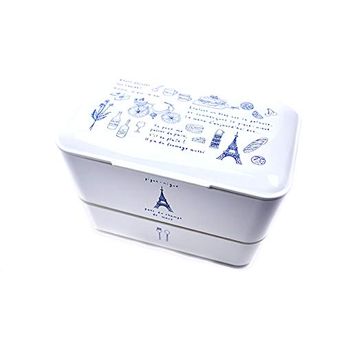 TAKENAKA Made in Japan Original Bento Box Lunch Box I Boîte Repas avec 2 Compartiments I sans BPA I Convient au Micro-Ondes et Lave-Vaisselle I Illustration Paris version White