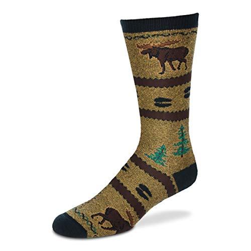 For Bare Feet Men's FBF Originals Wildlife Novelty Socks, Northwoods Moose, Large