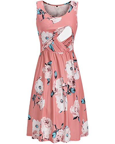 OUGES Womens Sleeveless Summer Floral Maternity Dresses Nursing Gown Breastfeeding Clothes(Floral07,M)
