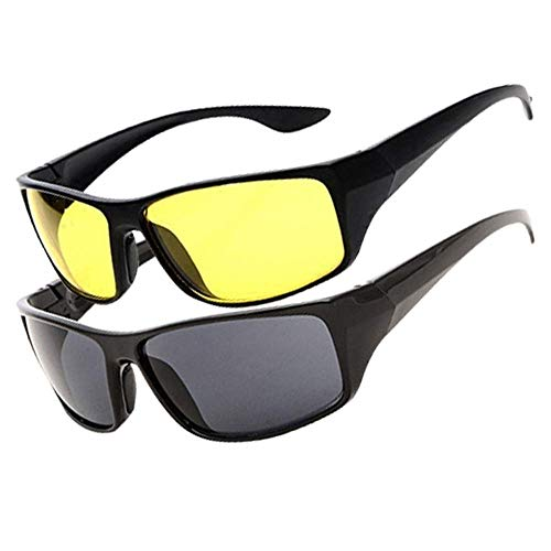 TOPHAVEN HD Vision Day and Night Unisex HD Vision Goggles Anti-Glare Polarized Sunglasses Men/Women Driving Glasses Sun Glasses UV Protection All Bikes & Car Drivers - Set of 2 Glass