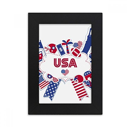 DIYthinker Usa Flagge Inde Kulli dence Tag Celebration Desktop-Foto-Rahmen-Bild Schwarz-Kunst-Malerei Passt 10.2 x 15.2cm (4 x 6 Zoll) Bild Mehrfarbig