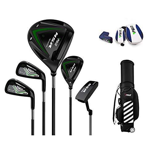 Golf Club, Portable Men's Half Sleeve Golf Ultra Light Carbon Club 5 Pole Golf Bag (Gold),Black