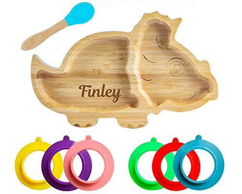 Personalised Dinosaur Baby Plate Bamboo, Bamboo Plates with Suction, Stay Put Plate, Baby Toddler Weaning Section Plate Spoon Set Blue