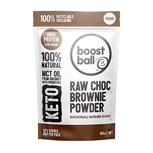 Boostball Keto Protein Powder, Vegan, High Protein, Low Sugar Shake with MCT Powder, Chocolate Brownie, 10 Servings 450g BBRCB01