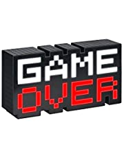 Game Over lamp zwart/transparant, bedrukt, 100% kunststof, in geschenkdoos.