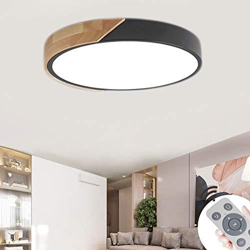 BFYLIN 60W Runde LED Deckenleuchte Holz mit Fernbedienung - Deckenlampe Ultra-dünne 6cm für Schlafzimmer Wohnzimmer Kinderzimmer, Dimmbar (Eiche-Schwarz-60W Runde)