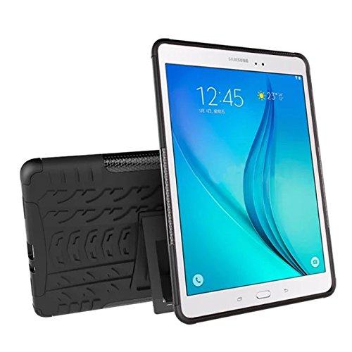 XITODA Custodia per Galaxy Tab A 9.7 Hybrid TPU Silicone & Duro PC con Kickstand Cover per Samsung Galaxy Tab A 9.7 Pollici SM-T550 T551 T555 Protezione - Nero