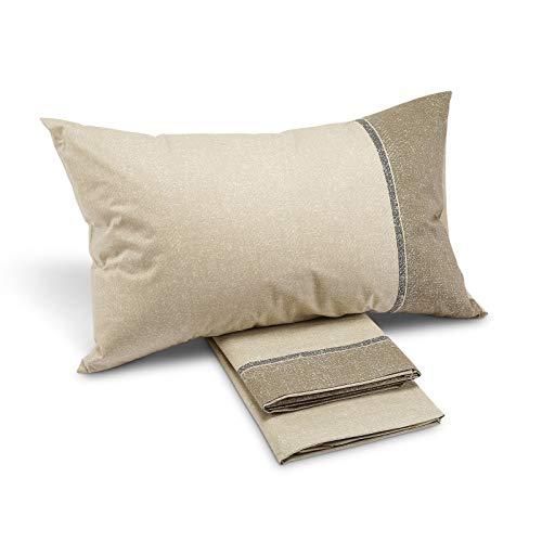 Sábana City Style gris Caleffi para cama de matrimonio (encimera de 240 x 280 + sábana bajera de 180 x 200 + 2 fundas de almohada de 50 x 80 cm)