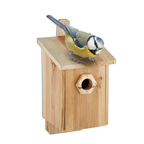 Relaxdays Nistkasten für Vögel, 28 mm Einflugloch, Vogelhaus zum Aufhängen, unbehandeltes Holz, HBT: 32x16x17 cm, Natur