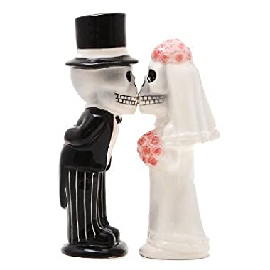 Bride & Groom Skeletons Kissing Magnetic Salt & Pepper Shakers - Love Never Dies